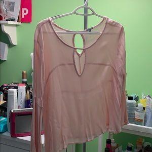 pale pink flowy top